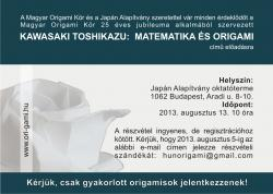 Kawasaki Toshikazu origami workshop - Budapest