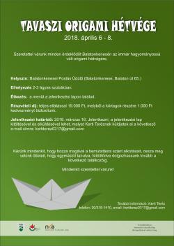 Origami hétvége 2018. április 6-8. - Balatonkenese