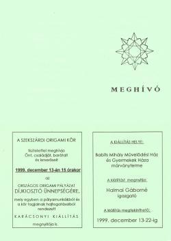 Országos origami pályázat és kiállítás 1999