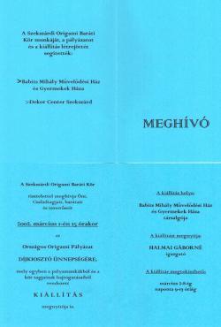 Origami kiállítás - Virágok és állatok - 2002.